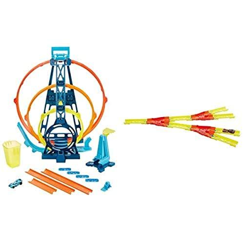 Hot Wheels GLC96 - Track Builder Unlimited Looping Set+GLC94 - Track Builder Unlimited Gespaltener Track, Spielzeug ab 6 Jahren+01806 5er Pack 1:64 Die-Cast Fahrzeuge Geschenkset, je 5 Spielzeugautos