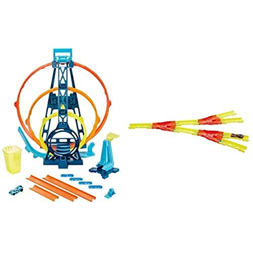 Hot Wheels GLC96 - Track Builder Unlimited Looping Set+GLC94 - Track Builder Unlimited Gespaltener Track, Spielzeug ab 6 Jahren+01806 5er Pack 1:64 Die-Cast Fahrzeuge Geschenkset, je 5 Spielzeugautos