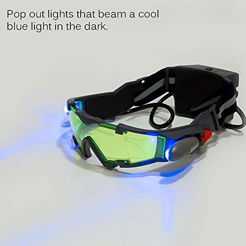 Spy Night Vision Goggles for Kids, Adjustable Spy Gear Night Mission Goggles with Flip-Out Lights Green Lens as Childrens' Gift for Racing Bicycling Skiing to Protect Eyes