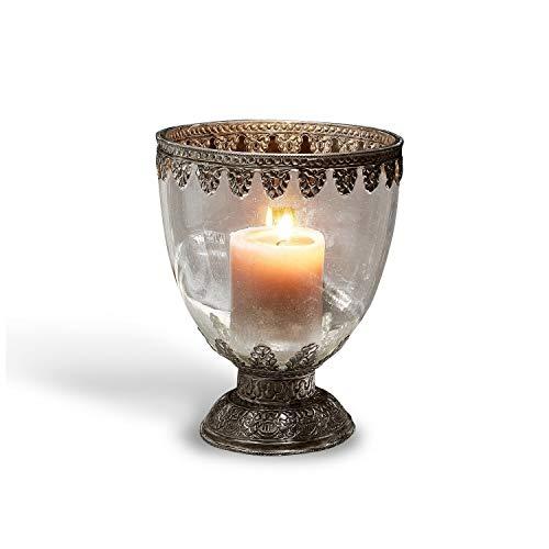 Loberon Windlicht Firmley, Glas/Messing, H/Ø ca. 22,5/17,5 cm, Silber/klar