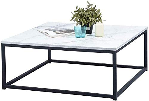 MEUBLES COSY Table Basse Carré MARBRE - Décor MARBRE et Noir - Structure en Métal,Style Industriel,L 80 x P 80 x H 34 cm