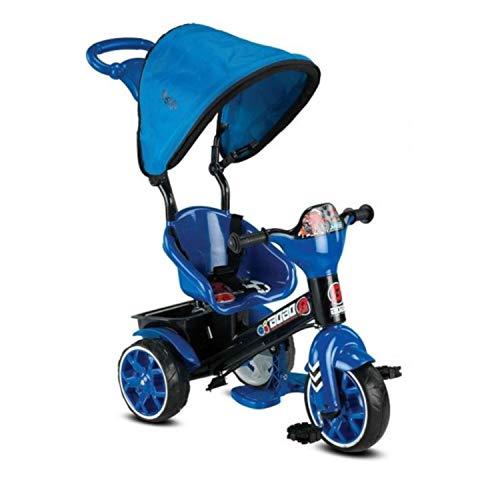 Babyhope 121 Bobo Speed Dreirad Schieber Kinderdreirad Farbwahl, Verstellbarer Sonnenschutz, Großer Korb, 3-Punkt Sicherheitsgurt, Leichtlauf Gummireifen, Regenschutz (Blau)