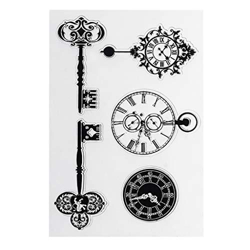 ECMQS Jahrgang Schlüssel Uhr DIY Transparente Briefmarke, Silikon Stempel Set, Clear Stamps, Schneiden Schablonen, Bastelei Scrapbooking-Werkzeug