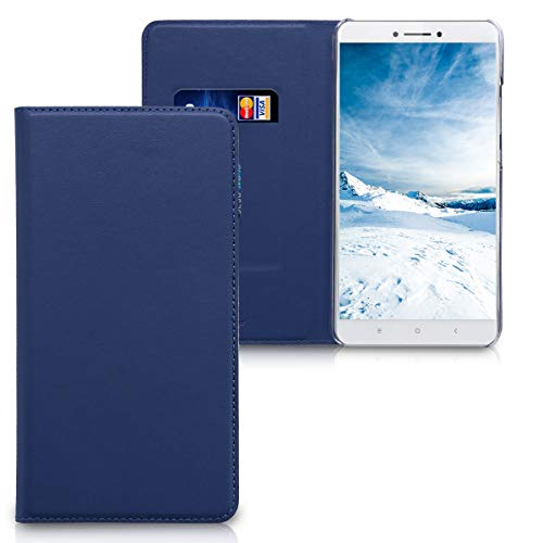 kwmobile Funda Compatible con Xiaomi Mi MAX 2 - Carcasa de Cuero sintético - Case Plegable en Azul Oscuro