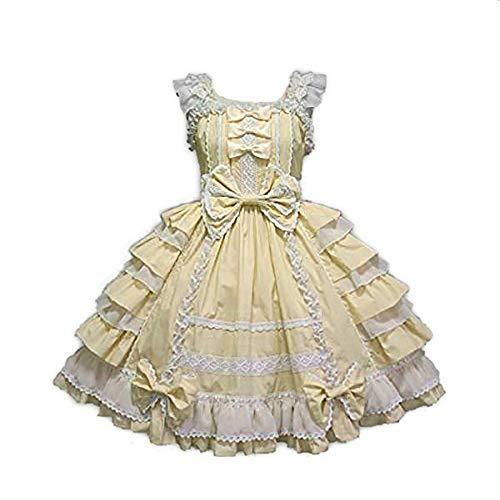 Sweet Girls Lolita Dress Womens Gothic Lace-up Frilly Princess Lace Court Faldas Vestidos para Disfraces de Cosplay