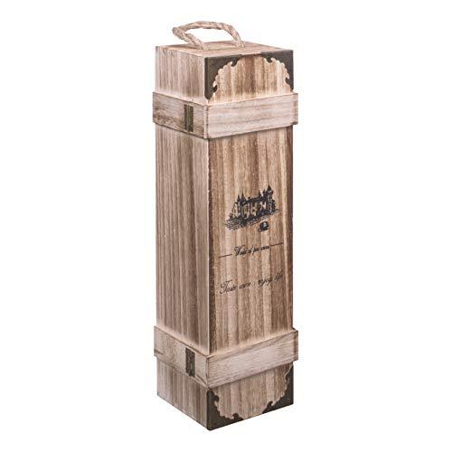 woodluv - Botella de Vino de Madera Vintage con asa integrada