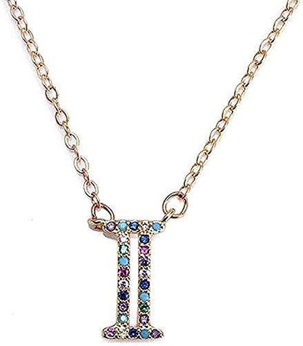 YOUZYHG co.,ltd Collar Collar I - Collar de Mujer con Letra Inicial y Nombre del Alfabeto, Colgante para Mujer, dijes, joyería, Regalo