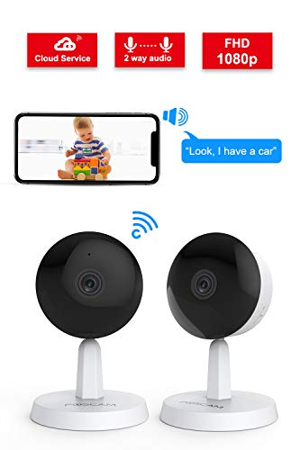 Video Baby Monitor,Foscam X1 1080P Wireless Pet Baby Monitor 2 Way Audio 1 Button Call Night Vision Smart Home Indoor Security Camera Works with Alexa, 2.4GHZ Human Motion Detection 2 Pack Monitors