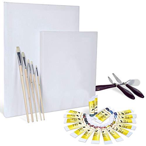 Artina Malset Leinwände für Acrylmalerei Set Malta - Künstler-Set mit 2 Keilrahmen, 18 Acrylfarben, Pinseln & Spachtel - Ideal für Anfänger & Hobbykünstler