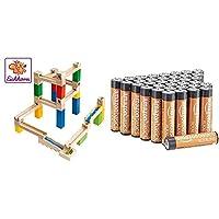 Eichhorn 100002023 Kugelbahn-Bausatz-100002023 2 Funktionsschienen, Säulen, Kugeln, Schienen, Auffangschale, Verbindungsstücke, 35-TLG, bunt & AmazonBasics Performance Batterien Alkali, AAA, 36 Stück