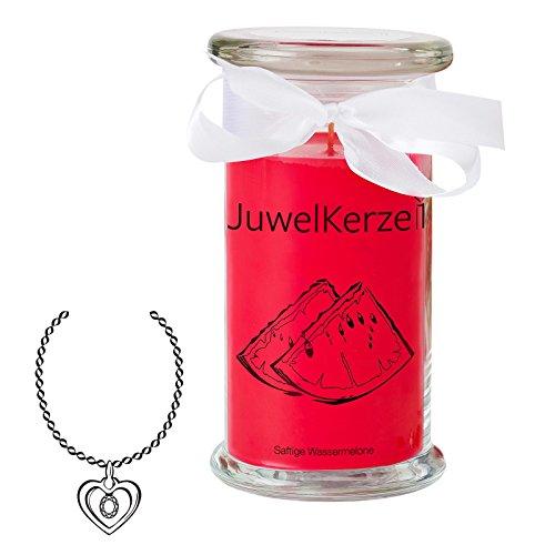 JuwelKerze Saftige Wassermelone - Kerze im Glas mit Schmuck - Große rote Duftkerze mit Überraschung als Geschenk für Sie (Silber Halskette & Anhänger, Brenndauer: 90-120 Stunden)
