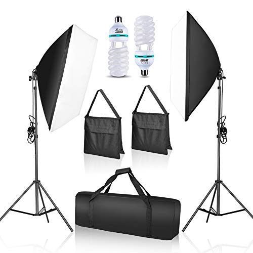 EMART Softbox Lighting Kit with Sandbag, 20'x28' Photography Soft Box Continuous Lighting Set with Photo Studio Bulbs, Professional Camera Light Equipment for Video Recording, Filming, Podcast