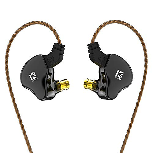 KBEAR KS2 IEM 1BA 1DD Stereo in Ear Headphone, Yinyoo HiFi Over Ear Earbud Headset Noise Cancelling Hybrid Earphone with Removable Cable for Running Walking (with mic, KS2 Black)