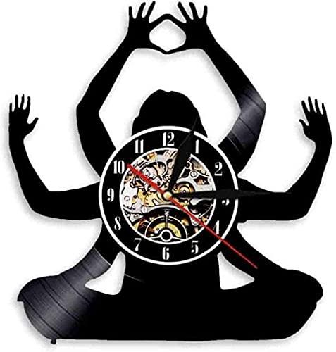 Reloj de pared de vinilo para yoga, meditación, reloj de pared de vinilo, sala de estar, dormitorio, decoración del hogar en silencio disfruta de la tranquilidad