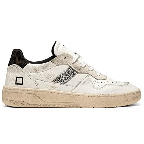 D.A.T.E. Court Pop - Zapatillas deportivas para mujer, color blanco y leopardo, con purpurina, cód. W 351-C2-PO-WD, talla, Color blanco., 39 EU
