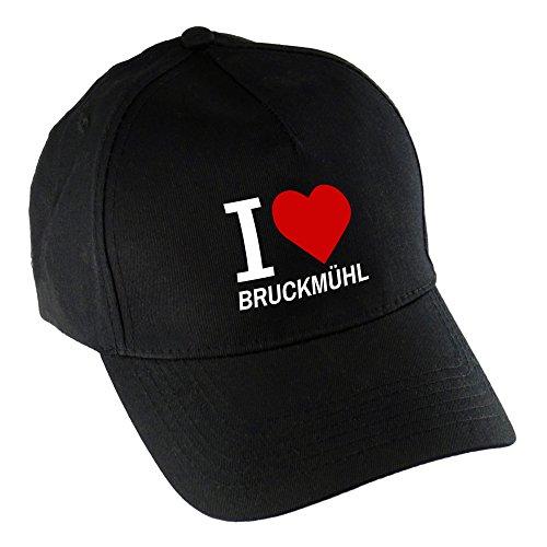 multifanshop Baseballcap Classic I Love Bruckmühl schwarz 100% Baumwolle - Cap Kappe Mütze Baseballkappe Schirmmütze Basecap Käppi