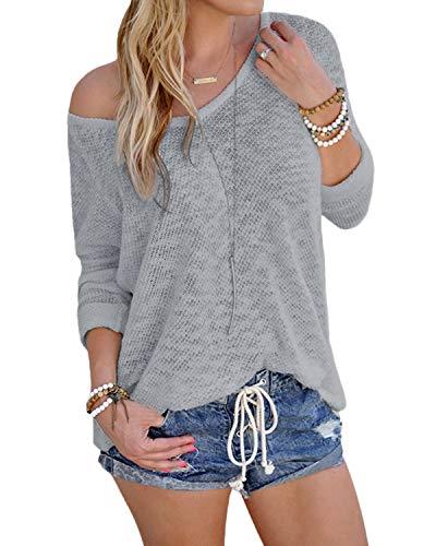 YOINS Bluse Damen Pullover Damen Langarmshirts Schulterfrei Oversize Tshirts Damen Herbst V-Ausschnitt Blusen Oberteile Casual A-hellgrau M