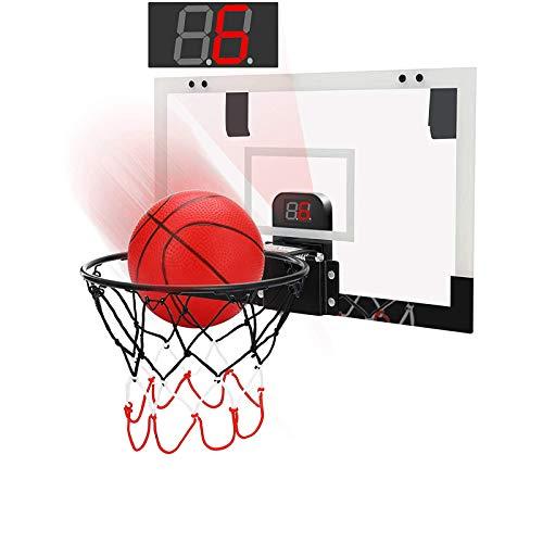 KOSIEJINN Mini Canasta de Baloncesto portátil con Pelotas, Pelota de Tiro montada en la Pared para Interiores con Registro de puntuación electrónico, Canasta Colgante de Red de Baloncesto pequeña