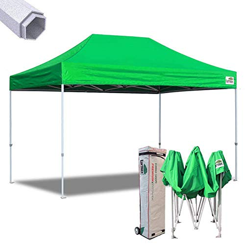 Eurmax 10x15 Ft Premium Ez Pop up Canopy Instant Canopies Shelter Outdoor Party Gazebo Commercial Grade with Roller Bag(Kelly Green)