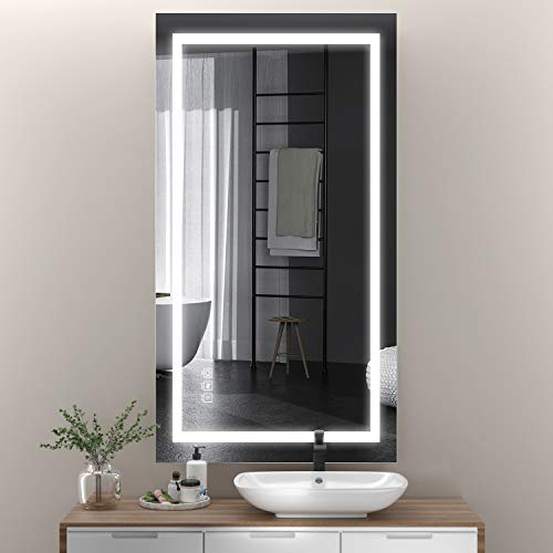 411YGz70+DL - ANTEN 40x24 Inch LED Bathroom Mirror, Horizontal/Vertical Anti-Fog Bathroom Mirrors for Wall, 3000-6000K Dimmable LED Lighted Vanity Mirror