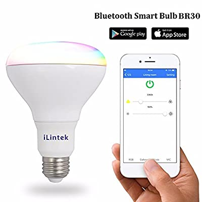 BR30 Smart LED Light Bulb Bluetooth APP Controlled Music SYNC RGBW Adjustable Multicolor Dimmable Great for Home Improvement Party Night Club, No Hub Required by iLintek