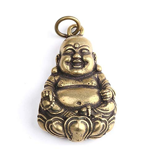 Wgd Foxi 1pcs Mini Laughing Buddha Key Rings, Pure Copper Maitreya Buddha Sculpture Keychain Car Pendant, Retro Solid Brass Hanging Ornament