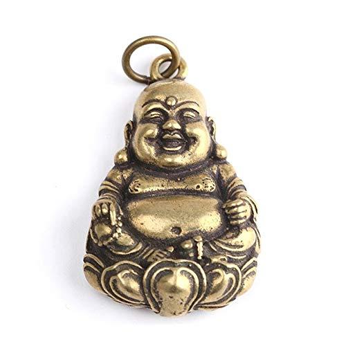 Wgd Foxi 1pcs Mini Laughing Buddha Key Rings, Pure Copper Maitreya Buddha Sculpture Keychain Car Pendant, Retro Solid Brass Hanging Ornament