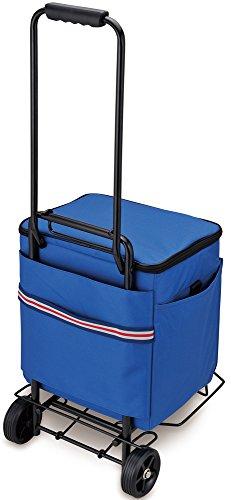 大きめの保冷バッグは車においておくには良いけれど、ふだんの買い物には向かないのではという方も、別売りのキャリーカートの持ち手に、背面のスリットを通して固定できるため持ち運びが楽チンです。