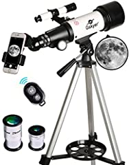 Quality Optics: 400mm(f/5.7) focal length and 70mm aperture, fully coated optics glass lens with high transmission coatings creates stunning images and protect your eyes. Perfect telescope for astronomers to explore stars and moon. Magnification: Com...