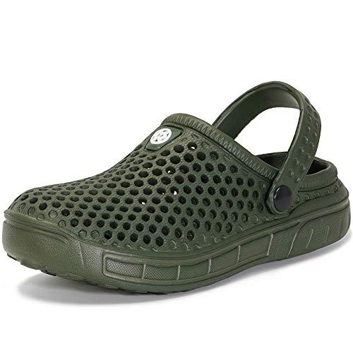 Zuecos y Mules Jardín para Niños Zapatillas de Verano Niñas Piscina Sandalias de Playa Antideslizante Pantuflas Zapatos Verde 35