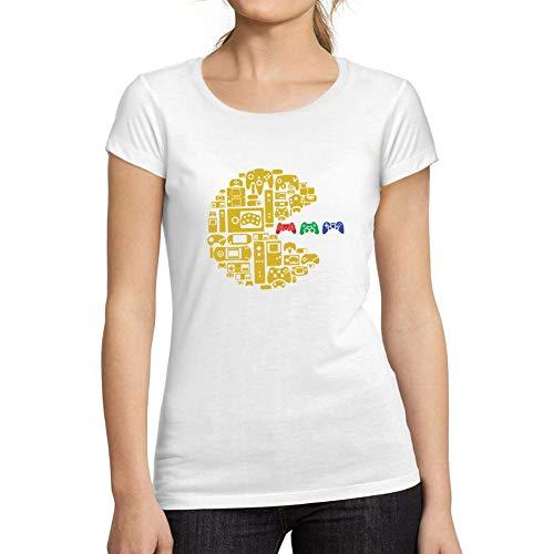 Ultrabasic - Camiseta de Mujer con Cuello Redondo Escotado Controladora Esports Gracioso Acción Vacaciones Blanco