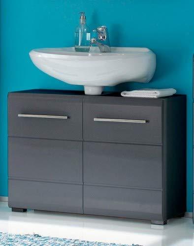 Stella Trading Waschbeckenunterschrank Badunterschrank Grau Metallic Hochglanz, BxHxT 76 x 56 x 30 cm