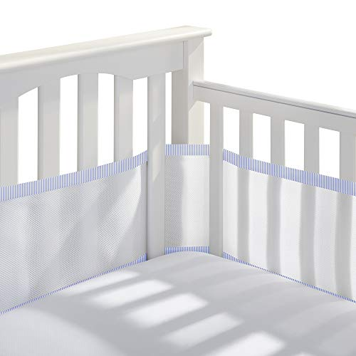 BreathableBaby Classic Breathable Mesh Crib Liner – White and Light Blue Seersucker Trim