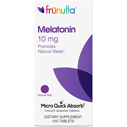 Frunutta Melatonin Under The Tongue Instant Dissolve Tablets - 10 mg x 100 Tablets - for Restful Sleep and Relaxation - Dietary Supplement, Made in USA - Non-GMO, Gluten Free and No Additives