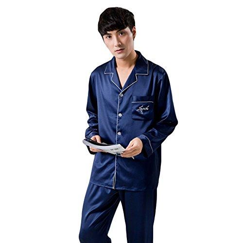 チーアンTiann メンズ パジャマ シルク ルームウェア 部屋着 長袖 前開き 寝巻き 上下セット 吸湿性 通気性 ネイビー XL