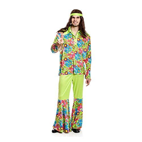 Kostümplanet® Hippie Kostüm Herren Kostüme 60er 70er Jahre Flower-Power Kleidung Karneval Hippiekostüme Fasching Retro Outfit Verkleidung Größe 48/50