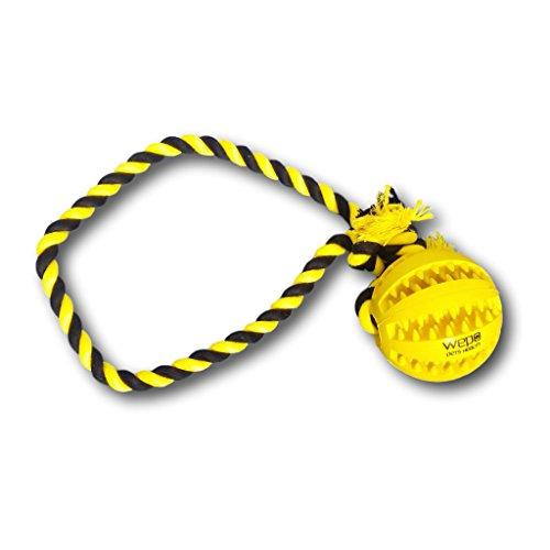 WEPO Hundespielzeug - Schleuderball mit Seil aus Naturkautschuk - für Welpen - Wurfball für Hunde- Welpenspielzeug - Ball mit Seil/Schnur - Gelb