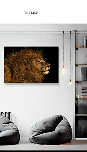 Rahmenlose Malerei HD Leinwand Malerei Wandkunst Tier schwarz grau Löwe Leinwand Malerei Poster Home DecorationZGQ3878 30X45cm