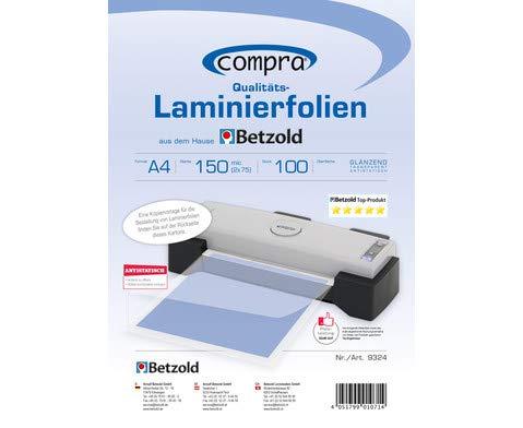 Betzold 9324 - Laminierfolien DIN A4, 100 Stück, Gesamtstärke 150 mic (2 Seiten je 75 mic) - Laminiertaschen laminieren