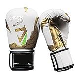 Guantes De Boxeo para Los Mitones De Cuero Formación Muay Thai Cuero Kickboxing, Lucha Combate Gran Bolsa Pesada Punch, Double Speed Ball End, Grappling Maniquí Y Focus Pads,Blanco,12oz