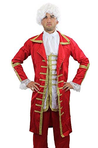 Dress Me Up Barn Rojo: Disfraz Muy elaborado, para Hombre, Barroco, Mozart, Nobleza, Aristocrata, Rey, Talla: 48 M