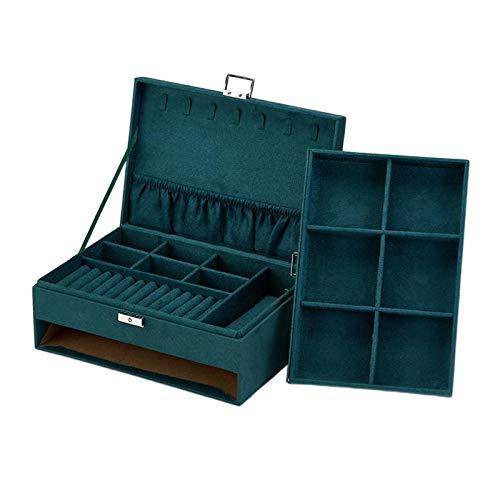 kowaku Velvet Lockable Jewelry Storage Box, Men & Women Jewelry Display Drawer Case, 2-Tier Organizer Rings Necklace Bracelace Showcase with Lid - Green