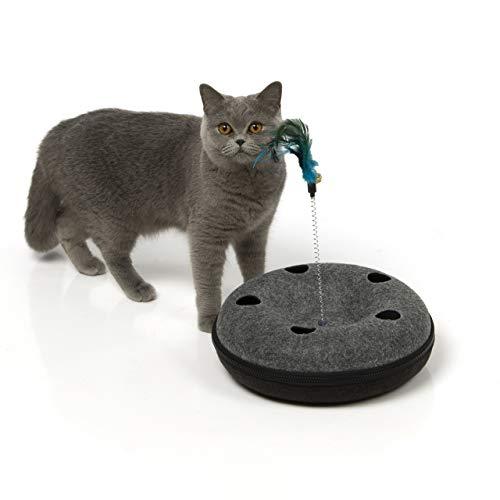 CanadianCat Company ® | Katzenspielzeug Katzenufo - interaktives Spielzeug für Katzen - Futterspielzeug, Suchspielzeug, zum Fummel und Spielen