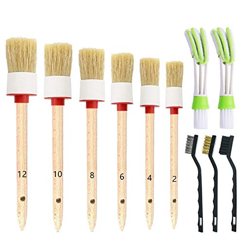 Nurkul 11 Pieces Auto Detailing Brush Set for Cleaning Wheels, Interior, Exterior, Leather, Including 6 pcs Premium Detail Brush (White), 3 pcs Wire Brush and 2 pcs Automotive Air Conditioner Brush