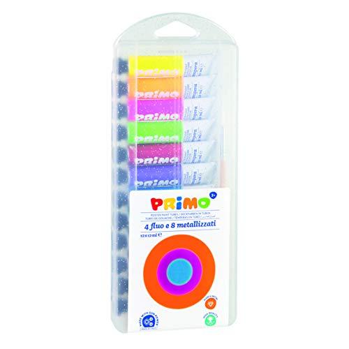 Morocolor PRIMO, Tempere per dipingere 8 colori metallizzati 4 colori fluo, tempere lavabili per bambini colori a tempera in tubetto d'alluminio 12ml, copertura extra alta pigmentazione Made in Italy