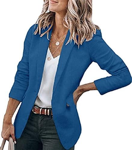 Tomwell Mujer Blazer Manga Larga Chaqueta de Traje Oficina Negocios Parte Casual OL Solapa Botón Chaqueta Abrigo Outwear Azul L