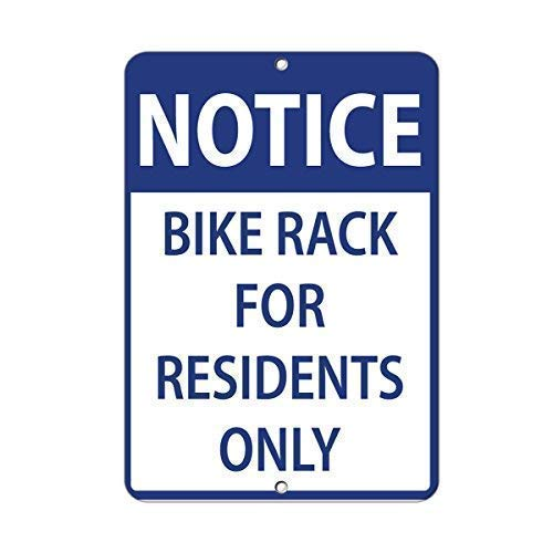 No/Brand Tin Sign Warning Sign Notice Bike Rack for Residents Only Parking Sign Room Metal Poster Wall Decor