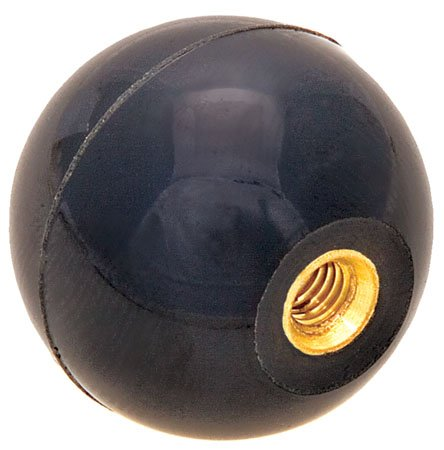 DimcoGray Threaded Ball Knobs - 1 7/8 Dia., 1/2-13 Thread, Brass, Female Black Phenolic Plastic Ball Knob with Threaded Insert- Inch. Female Round Thread Machine Handle (1 Each)