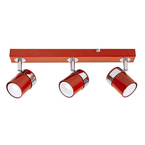 MiniSun – Deckenleuchte 3 flammig, Rot / Chrom – Lampe Strahler 3er – Deckenlampe 3 flammig – Spotbalken 3 flammig, dreh- und schwenkbar, Rot/Chrom (GU10, 50W) [Energieklasse A++]