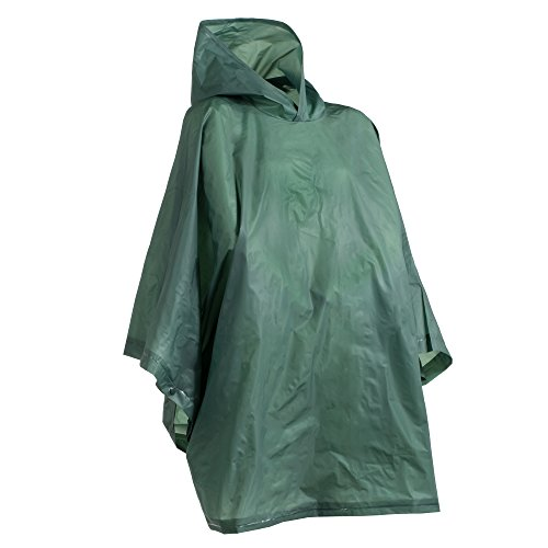 totes Unisex Rain Poncho, lightweight, reusable, and packable on the go rain protection, Hunter, One Size